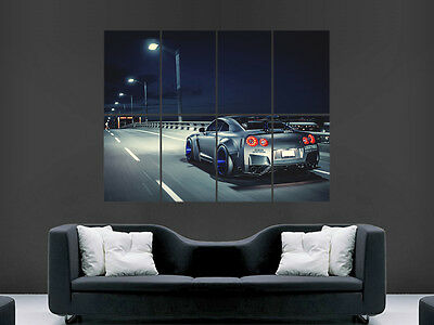 Nissan Gtr Car Poster Speed Road City Lights Art Wall Large Image Giant • 17.99£