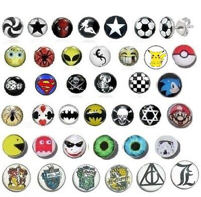 New Mens Boys *single* Or Pair Logo Stud Earring Picture Cartoon Studs Girls  • 2.48£
