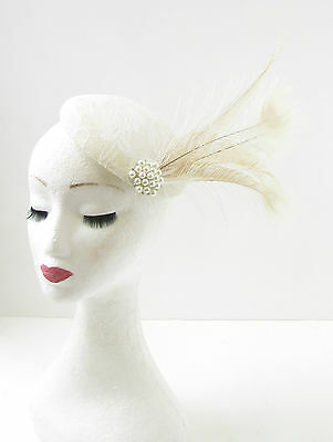 Ivory Cream Peacock Feather Fascinator Headpiece Hair 1920s Hat Races Vtg 296 • 21.95£