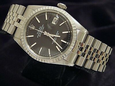 $ CDN4994.82 • Buy Rolex Datejust Mens Stainless Steel Jubilee Engine-Turned Black Dial Watch 1603