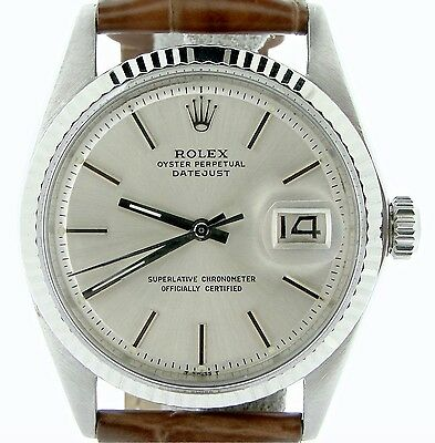 $ CDN5100.18 • Buy Rolex Datejust Men Stainless Steel 18K White Gold Watch Silver Dial Brown 1601