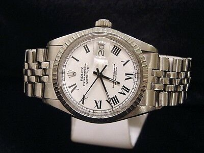 $ CDN4852.89 • Buy Rolex Datejust Mens Stainless Steel Jubilee Watch White & Black Roman Dial 1603