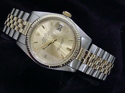 $ CDN5806.55 • Buy Rolex Datejust Mens 2Tone Gold & Stainless Steel Jubilee Champagne 1601