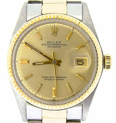 $ CDN5517.54 • Buy Rolex Datejust Mens 2Tone Gold & Stainless Steel Oyster Fluted Champagne 1601