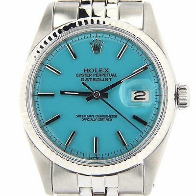 $ CDN5574.29 • Buy Rolex Datejust Mens Stainless Steel 18K White Gold Watch W/ Turquoise Blue Dial