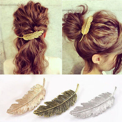 Retro Leaf Feather Hair Pin Jewelry Women Vintage Hair Clip Barrette Bobby Pins • 0.99£