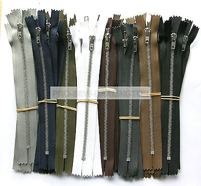 5 X SILVER METAL TEETH TROUSER & JEANS ZIPS CLOSED ENDED ( 9 COLOURS & LENGTHS ) • 5.69£
