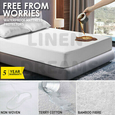 AU14.90 • Buy All Size Fully Fitted Bamboo Fibre Waterproof Mattress Protector Cover Cotton