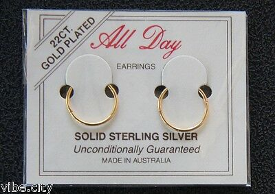AU10.99 • Buy 22ct Gold Plated Sleepers Hoops Earrings: Non-allergic. Aussie Made. 5 Sizes!