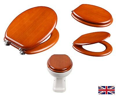 New Toilet Seat Light Walnut Veneer Wood Sit Tight Bathroom Chrome Hinges • 39.99£