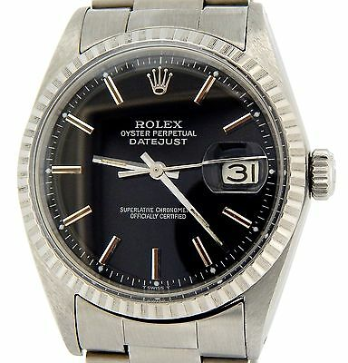 $ CDN4469.77 • Buy Rolex Oyster Perpetual Datejust Men Stainless Steel Watch Oyster Black Dial 1603