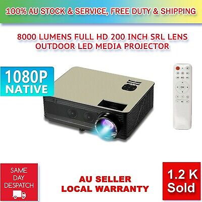AU319.99 • Buy Native 1080P 8000 Lumens SLR Lens LED Projector Media Home Outdoor Cinema HDMI