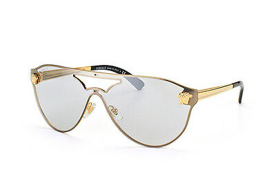281b84bc35 NEW Authentic VERSACE Rock Icons Gold Shield Aviator Sunglasses VE 2161  1002 6G • 299.95