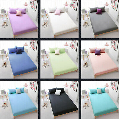 AU27 • Buy All Size Poly Cotton 3 Piece Fitted Sheet Bedding Set Pillowcase - No Flat Sheet