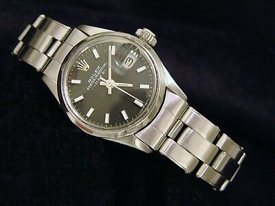 $ CDN3273.04 • Buy Vintage Rolex Date Ladies Stainless Steel Watch Oyster Bracelet Black Dial 6516