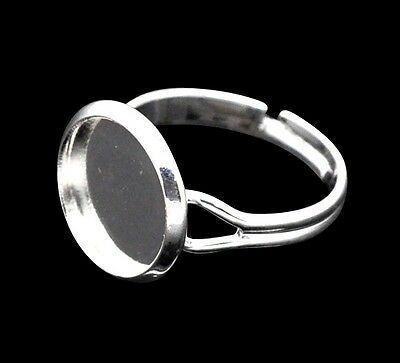 £0.99 • Buy ❤ 4 X Silver Plated Adjustable ADULT Blank RING TRAY Setting For 12mm Cabochon ❤