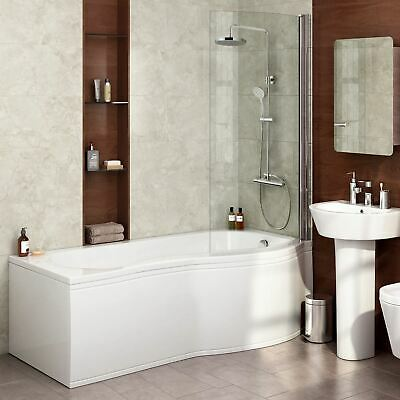 Diamond P Shaped Shower Bath - 1700mm With Screen & Front Panel - Right Hand • 269.99£
