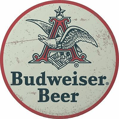 $ CDN30.37 • Buy Budweiser Beer Big A Round Domed 15.5  Metal Sign Bar Man Cave Garage Shop Decor