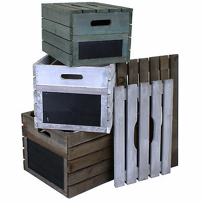 Wooden Crate Vintage Rustic Style Hamper Fruit Crates Storage Box Slatted Lids • 13.99£