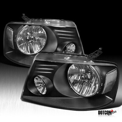 $90.99 • Buy For 2004-2008 Ford F150 F-150 Pickup Headlights Head Lamps Black Left+Right