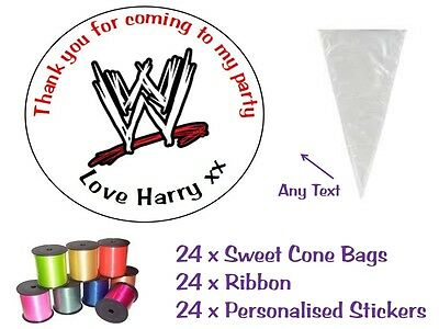 24 DIY Personalised Sweet Sweetie Cone WWE Wrestling Birthday Party Loot Bag Kit • 4.99£