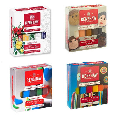 Renshaw Ready To Roll Cake Icing Multi 5x 100g Pack Colour Sugarpaste Decorating • 6.89£
