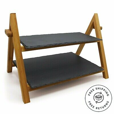 £20.99 • Buy Wedding Cake Stand 2 Tier Slate Bamboo Tapas Dishes Tiered Serving Display Stand