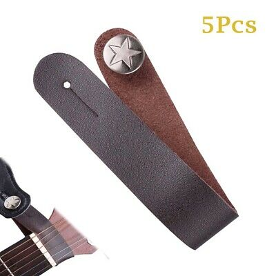 $ CDN14.73 • Buy 5Pcs Guitar Strap Buttons Hook  Genuine Leather For Acoustic Guitar Banjo Brown