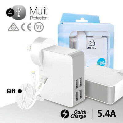 AU21.95 • Buy 4 Ports USB Mobile Wall Charger Adapter For Apple IPhone IPad Samsung