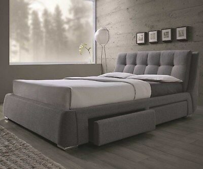 $1195 • Buy Modern Newcrest Tufted Gray Fabric Platform Storage Drawers Queen King Size Bed