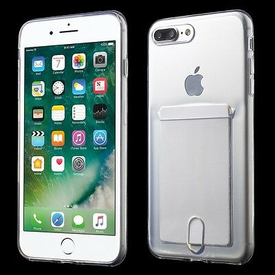 AU9.38 • Buy IPhone 7+ / 8+ Plus - TPU RUBBER CASE TRANSPARENT CLEAR CREDIT CARD SLOT HOLDER