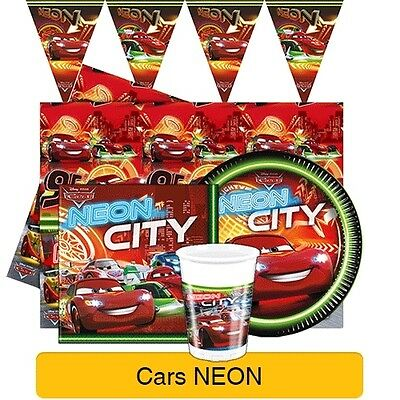 Disney Cars NEON Birthday Party Range - Tableware Supplies Banners & Decorations • 2.99£