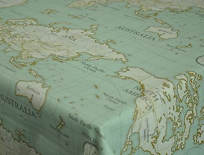 £12.99 • Buy Fryetts World Map Duckegg Cotton PVC Fabric WIPE CLEAN Tablecloth Oilcloth