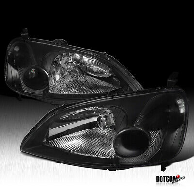 $68.99 • Buy For 2001-2003 Honda Civic LX EX JDM Black Headlights Head Lamps Replacement Pair