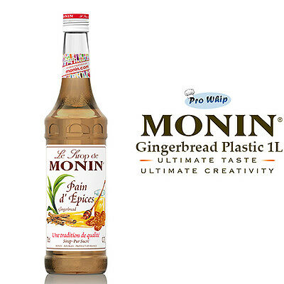 MONIN Coffee Syrups GINGERBREAD - 1L Plastic Bottle - USED BY COSTA COFFEE • 10.49£