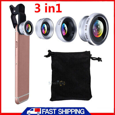 £4.87 • Buy 3 In1 Universal Fish Eye+Wide Angle+Macro Camera Clip-on Lens For IPhone Samsung