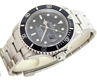 $ CDN10928.23 • Buy Rolex Submariner Date Mens Stainless Steel Sub Watch Black Dial Bezel SEL 16610