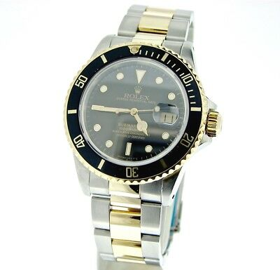 $ CDN11368.12 • Buy Rolex Submariner Yellow Gold & Stainless Steel Watch Black Date Sub 16803