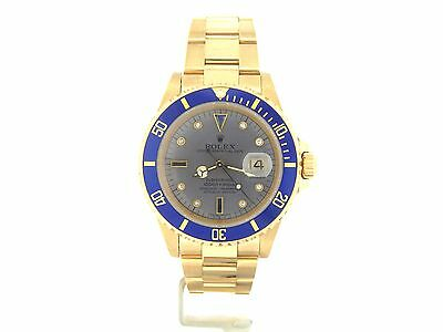 $ CDN33601.63 • Buy Rolex Submariner SOLID 18KT 18K Yellow Gold Date Watch Blue Sub Diamond 16618