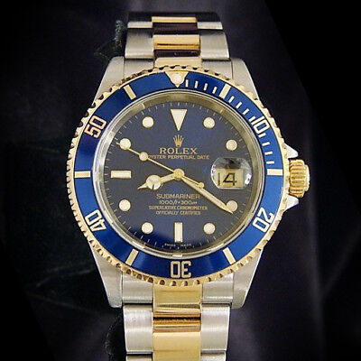 $ CDN13733.98 • Buy Rolex Submariner 18k Gold & Stainless Steel Watch Blue Sub No Holes SEL 16613T