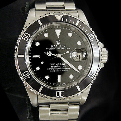 $ CDN10551.40 • Buy Rolex Submariner Date Stainless Steel Watch Black Dial Bezel Mens Sub 16610