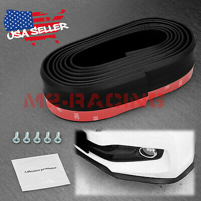 $17.99 • Buy Universal Black PU Rubber Front Bumper Lip Splitter Spoiler Chin Body Air Wing