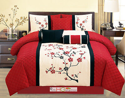 $66.94 • Buy 7P Quilted Peach Plum Blossom Tree Embroidery Comforter Set Red Off-White Sakura