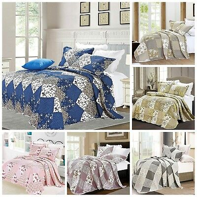 £31.99 • Buy Patchwork Quilted Comfy Bedspread Bedding Set Embroidered Throw Double King Size