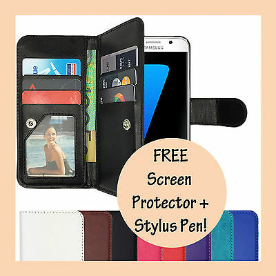 AU9.45 • Buy Leather Flip Cover Case PU Wallet For Samsung Galaxy S7 & S7 Edge S8 Plus