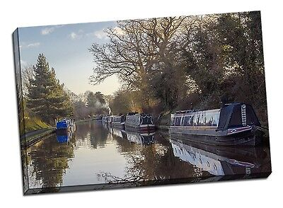 £24 • Buy Canal Boat Framed Canvas Print Audlem Picture Winter