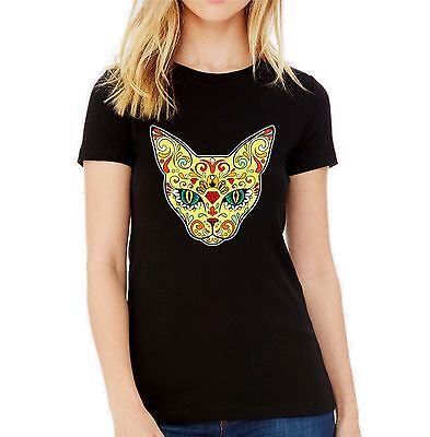£9.95 • Buy Velocitee Ladies T-Shirt Dia Los Muertos Cat Face Colourful Day Of The Dead V180