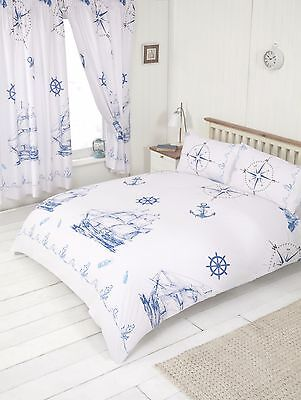 Double Bed Duvet Cover Set Nautical Ship Sea Rope White Marine Anchor Compass • 16.99£