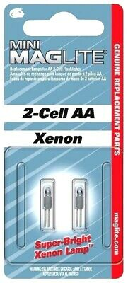 MagLite LM2A001 Mini Mag AA Xenon Bright FLASHLIGHT REPLACEMENT BULBS Lamps 2pk! • 5.61£