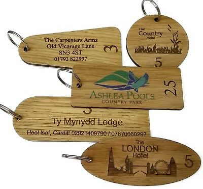 Wooden Engraved Personalised Hotel Key Fobs Tags • 2.80£